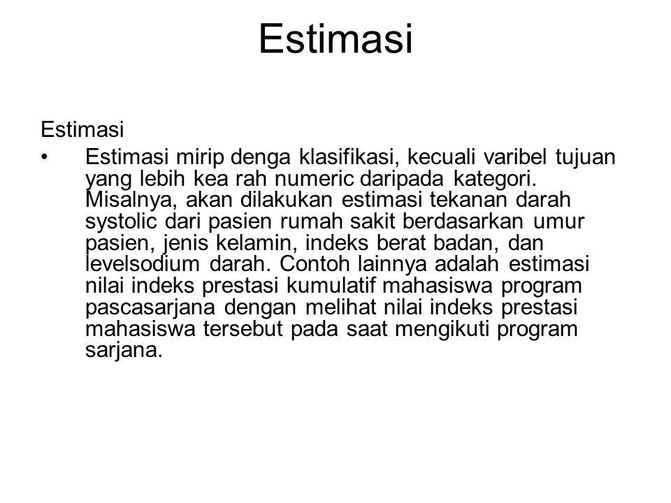 Estimasi Estimasi mirip denga klasifikasi, kecuali varibel tujuan yang lebih kea rah numeric daripada kategori. Misalnya, akan dilakukan estimasi teka