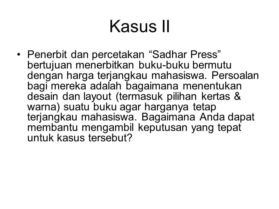 """Kasus II Penerbit dan percetakan """"Sadhar Press"""" bertujuan menerbitkan buku-buku bermutu dengan harga terjangkau mahasiswa. Persoalan bagi mereka adala"""