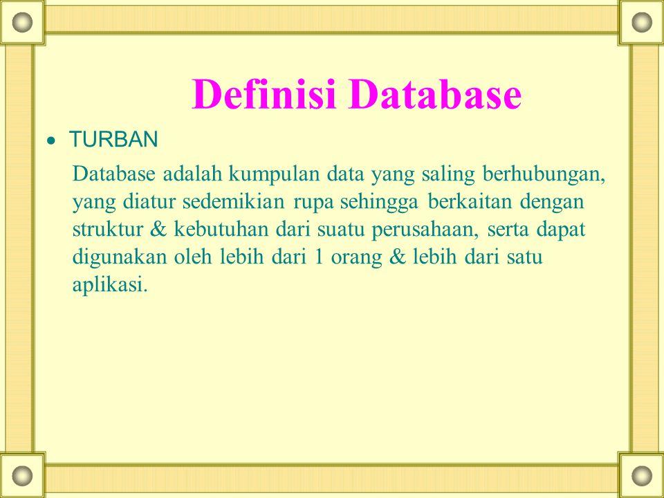 Definisi Database  TURBAN Database adalah kumpulan data yang saling berhubungan, yang diatur sedemikian rupa sehingga berkaitan dengan struktur & keb