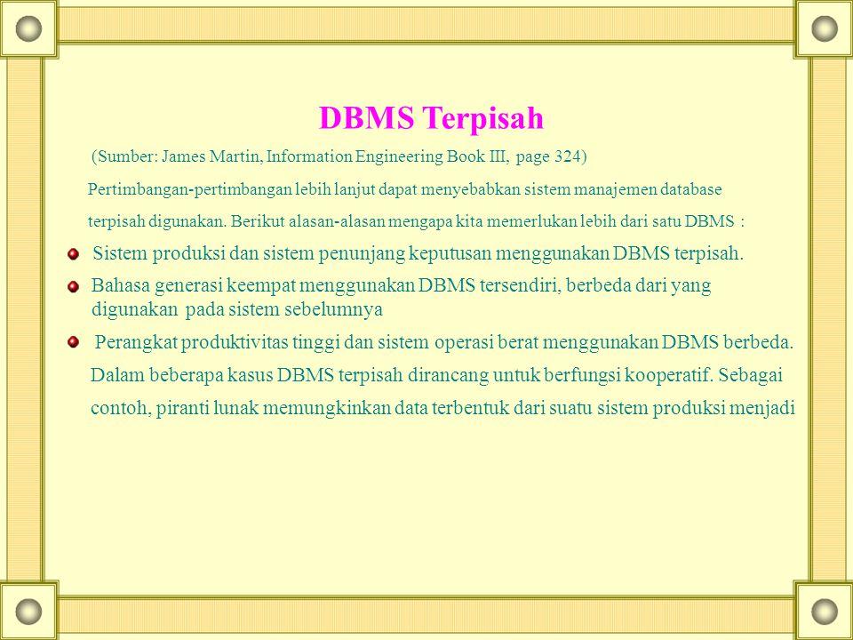DBMS Terpisah (Sumber: James Martin, Information Engineering Book III, page 324) Pertimbangan-pertimbangan lebih lanjut dapat menyebabkan sistem manaj
