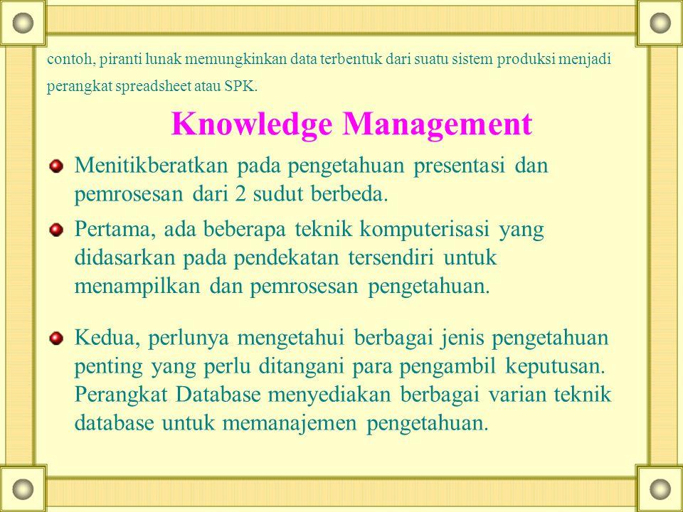 perangkat spreadsheet atau SPK. Knowledge Management Menitikberatkan pada pengetahuan presentasi dan pemrosesan dari 2 sudut berbeda. Pertama, ada beb