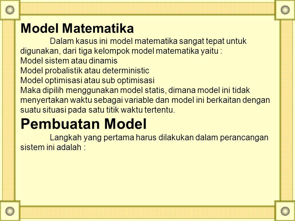 Model Matematika Dalam kasus ini model matematika sangat tepat untuk digunakan, dari tiga kelompok model matematika yaitu : Model sistem atau dinamis