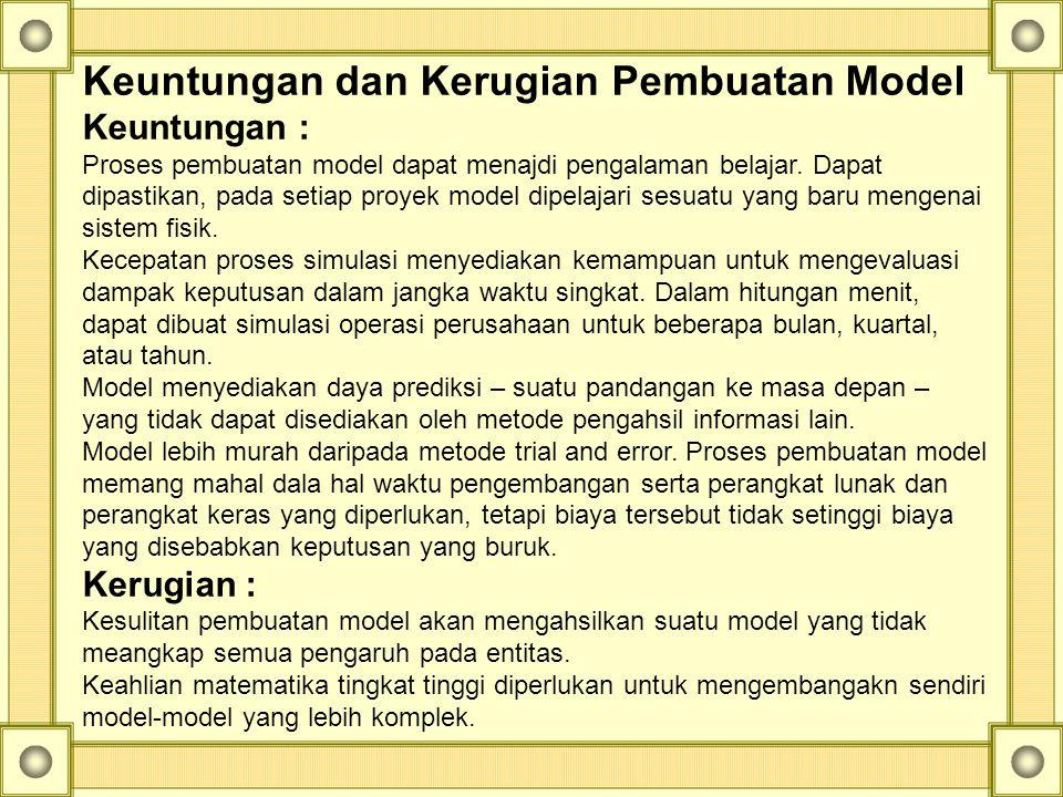Keuntungan dan Kerugian Pembuatan Model Keuntungan : Proses pembuatan model dapat menajdi pengalaman belajar. Dapat dipastikan, pada setiap proyek mod