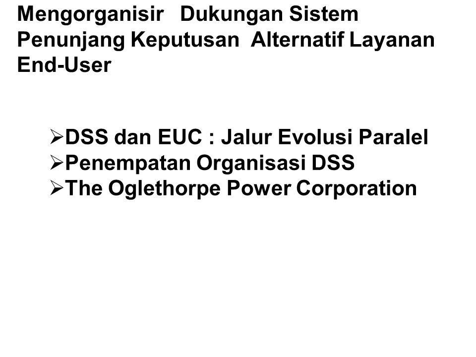 Mengorganisir Dukungan Sistem Penunjang Keputusan Alternatif Layanan End-User  DSS dan EUC : Jalur Evolusi Paralel  Penempatan Organisasi DSS  The