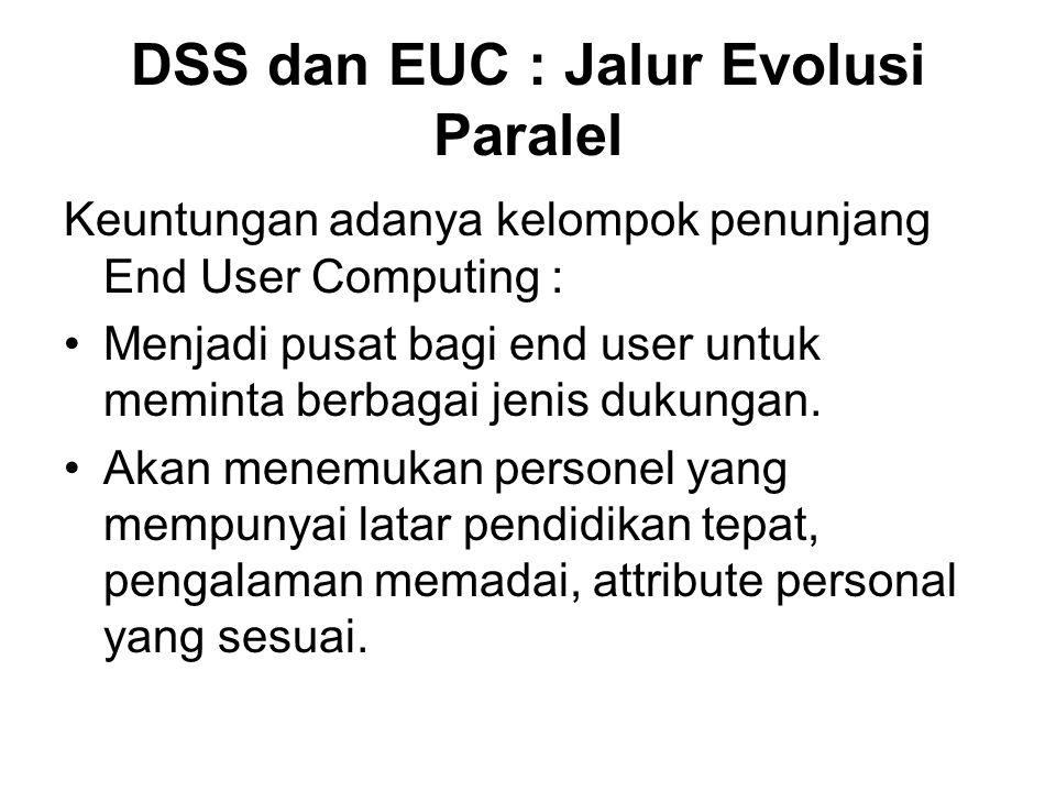 DSS dan EUC : Jalur Evolusi Paralel Keuntungan adanya kelompok penunjang End User Computing : Menjadi pusat bagi end user untuk meminta berbagai jenis