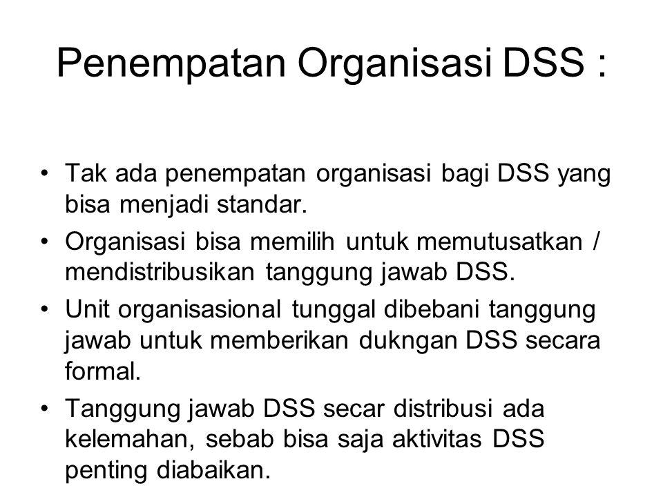 Penempatan Organisasi DSS : Tak ada penempatan organisasi bagi DSS yang bisa menjadi standar. Organisasi bisa memilih untuk memutusatkan / mendistribu