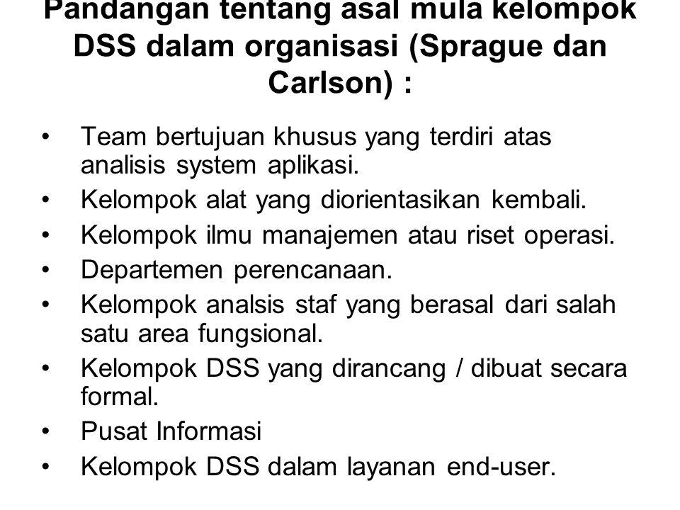 Pandangan tentang asal mula kelompok DSS dalam organisasi (Sprague dan Carlson) : Team bertujuan khusus yang terdiri atas analisis system aplikasi. Ke