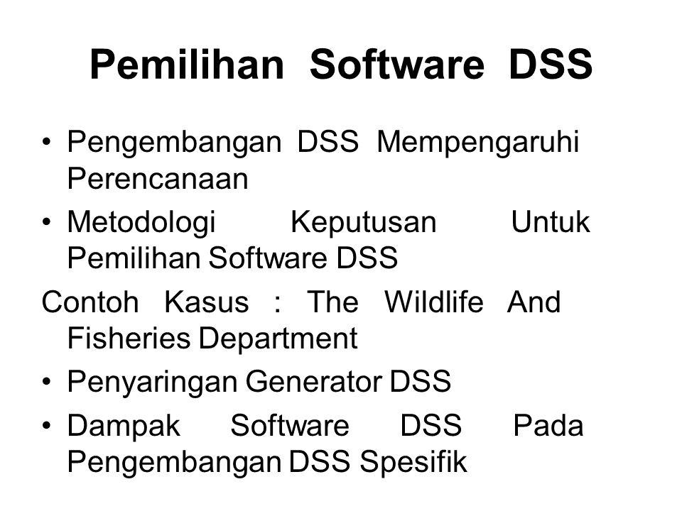 Pengembangan DSS Mempengaruhi Perencanaan Metodologi Keputusan Untuk Pemilihan Software DSS Contoh Kasus : The Wildlife And Fisheries Department Penya
