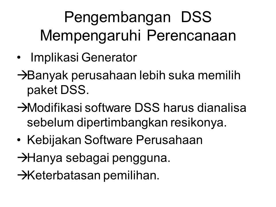 Pengembangan DSS Mempengaruhi Perencanaan Implikasi Generator  Banyak perusahaan lebih suka memilih paket DSS.  Modifikasi software DSS harus dianal