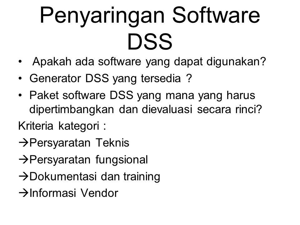 Penyaringan Software DSS Apakah ada software yang dapat digunakan? Generator DSS yang tersedia ? Paket software DSS yang mana yang harus dipertimbangk