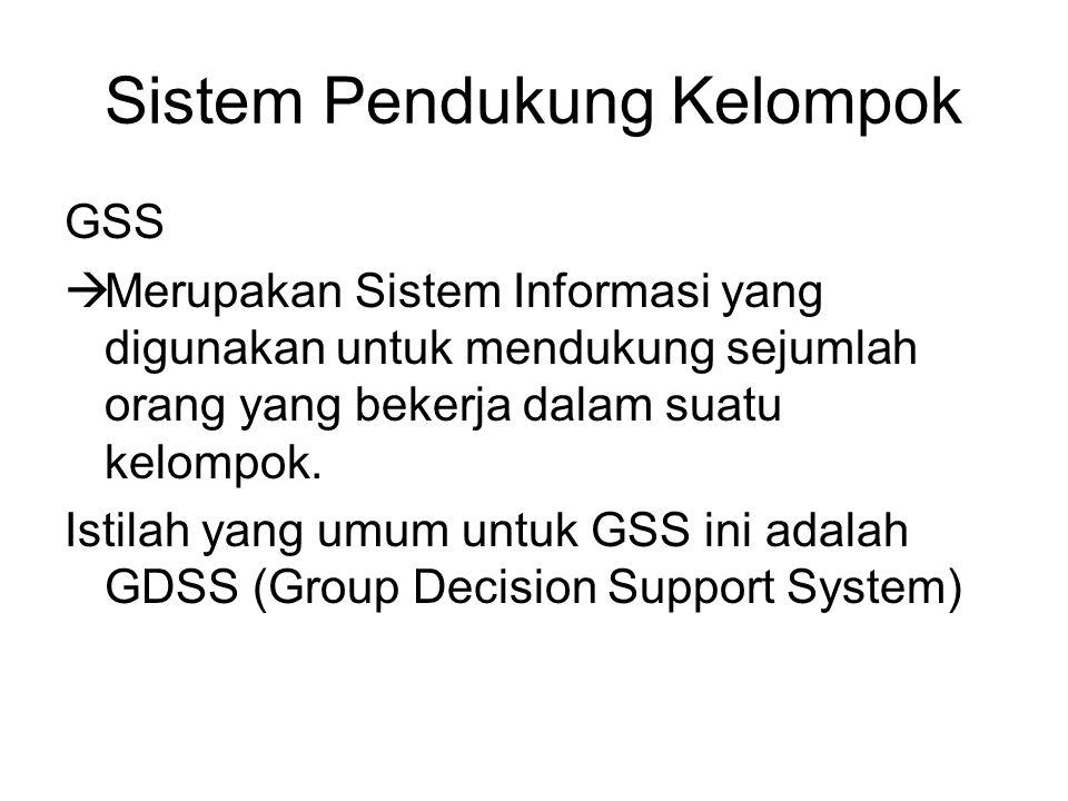 Sistem Pendukung Kelompok GSS  Merupakan Sistem Informasi yang digunakan untuk mendukung sejumlah orang yang bekerja dalam suatu kelompok. Istilah ya