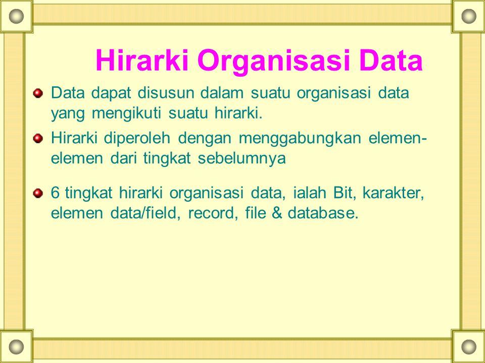 Hirarki Organisasi Data Data dapat disusun dalam suatu organisasi data yang mengikuti suatu hirarki. Hirarki diperoleh dengan menggabungkan elemen- el