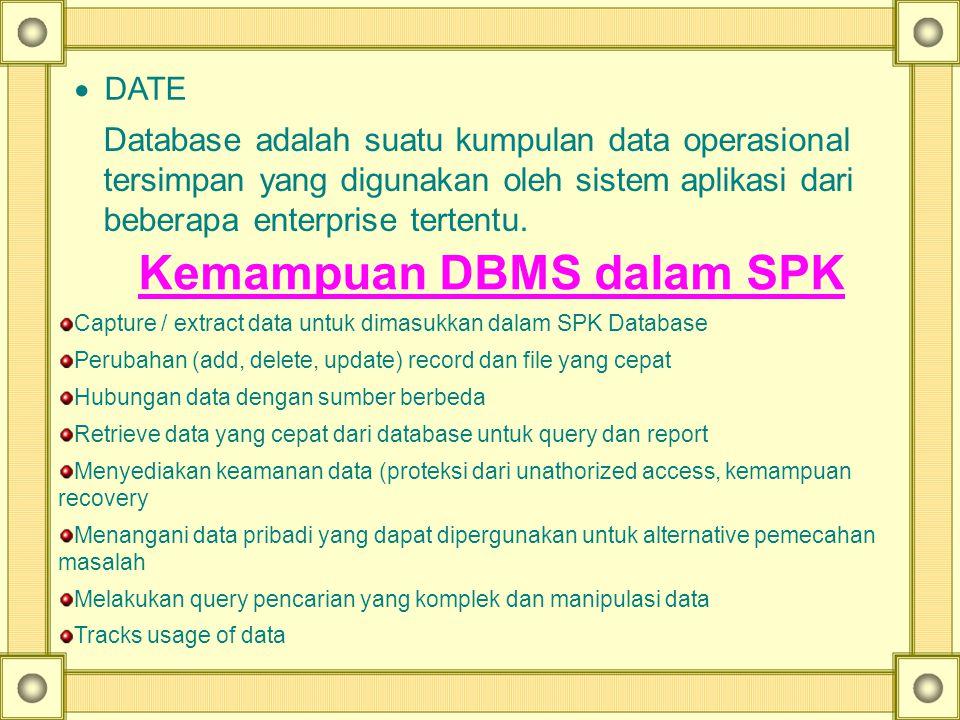  DATE Database adalah suatu kumpulan data operasional tersimpan yang digunakan oleh sistem aplikasi dari beberapa enterprise tertentu. Kemampuan DBMS
