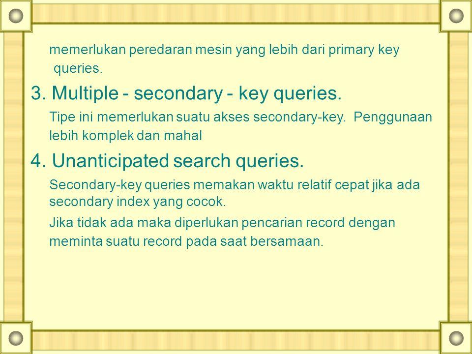 memerlukan peredaran mesin yang lebih dari primary key queries. 3. Multiple - secondary - key queries. Tipe ini memerlukan suatu akses secondary-key.