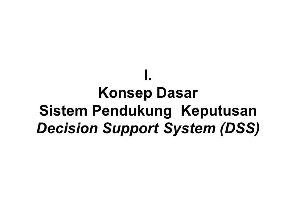 I. Konsep Dasar Sistem Pendukung Keputusan Decision Support System (DSS)