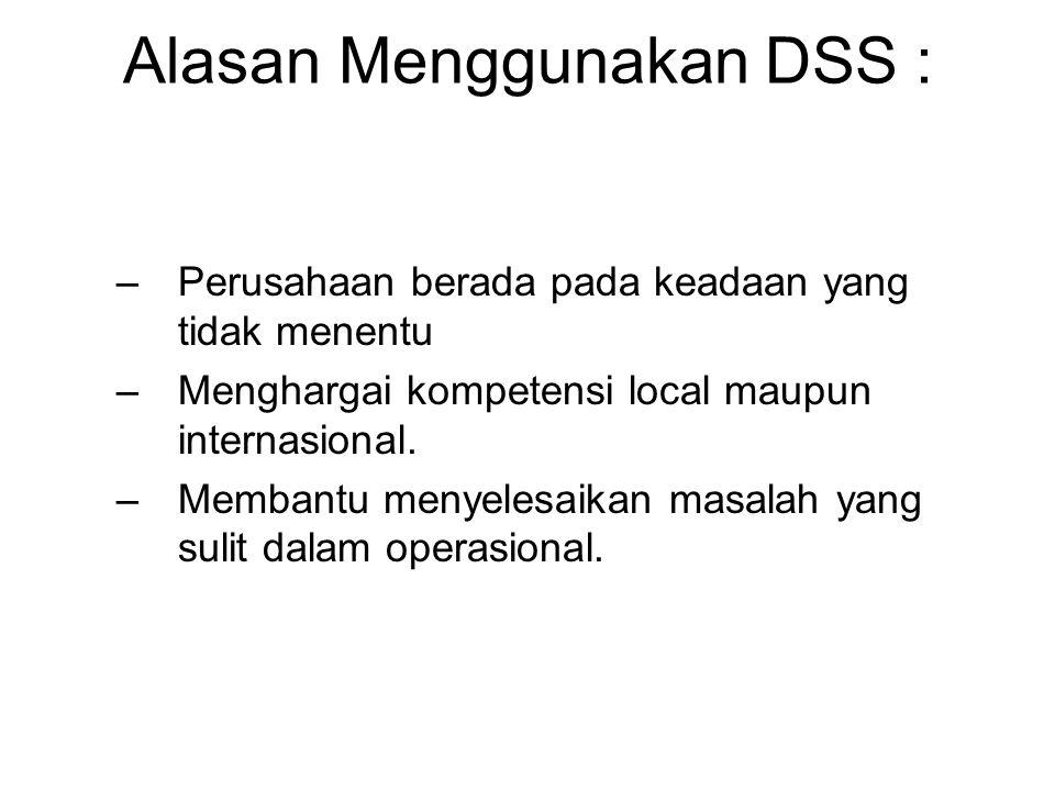 Alasan Menggunakan DSS : –Perusahaan berada pada keadaan yang tidak menentu –Menghargai kompetensi local maupun internasional. –Membantu menyelesaikan