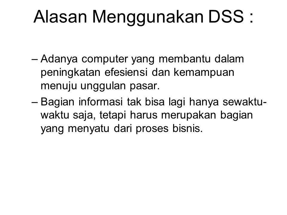 Alasan Menggunakan DSS : –Adanya computer yang membantu dalam peningkatan efesiensi dan kemampuan menuju unggulan pasar. –Bagian informasi tak bisa la