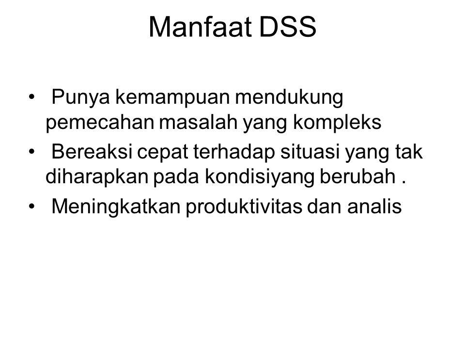 Manfaat DSS Punya kemampuan mendukung pemecahan masalah yang kompleks Bereaksi cepat terhadap situasi yang tak diharapkan pada kondisiyang berubah. Me