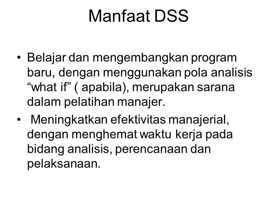 """Manfaat DSS Belajar dan mengembangkan program baru, dengan menggunakan pola analisis """"what if"""" ( apabila), merupakan sarana dalam pelatihan manajer. M"""