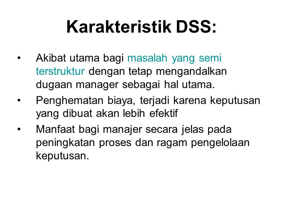 Karakteristik DSS: Akibat utama bagi masalah yang semi terstruktur dengan tetap mengandalkan dugaan manager sebagai hal utama. Penghematan biaya, terj