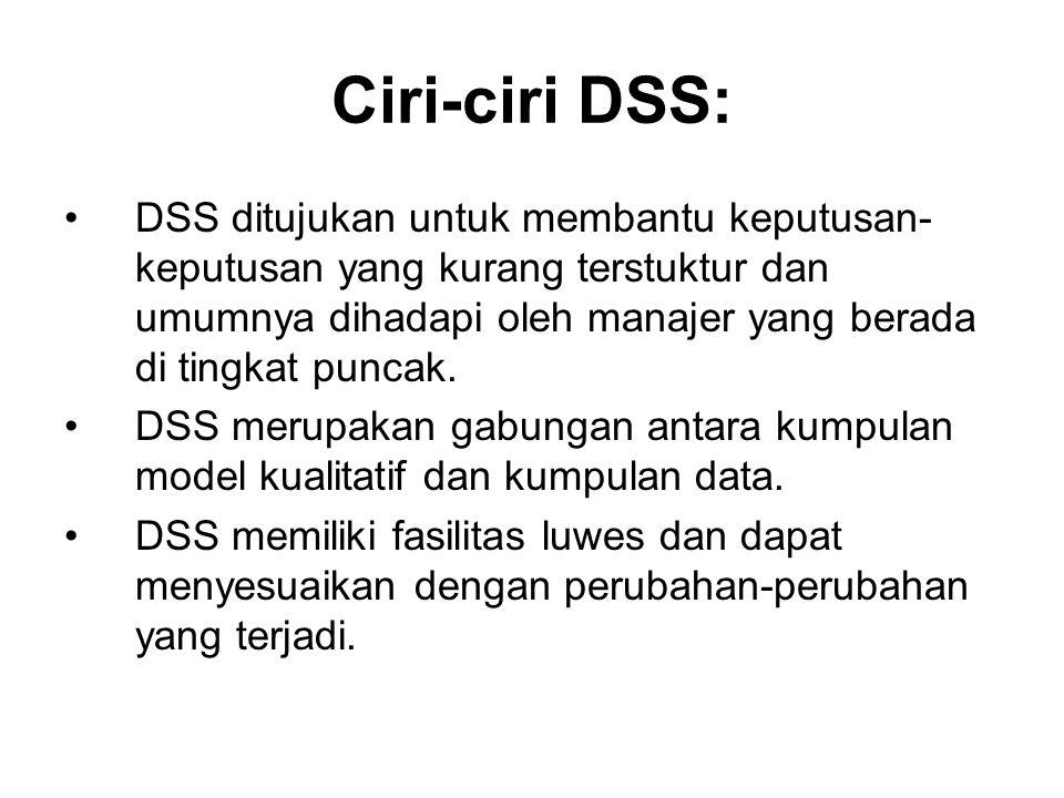 Ciri-ciri DSS: DSS ditujukan untuk membantu keputusan- keputusan yang kurang terstuktur dan umumnya dihadapi oleh manajer yang berada di tingkat punca