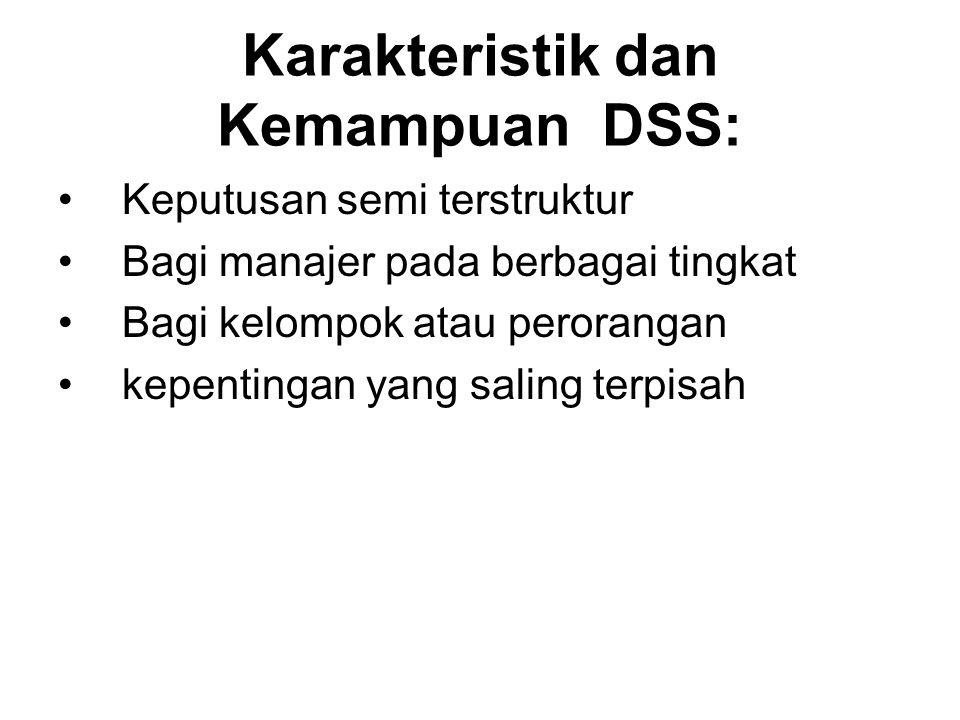 Karakteristik dan Kemampuan DSS: Keputusan semi terstruktur Bagi manajer pada berbagai tingkat Bagi kelompok atau perorangan kepentingan yang saling t