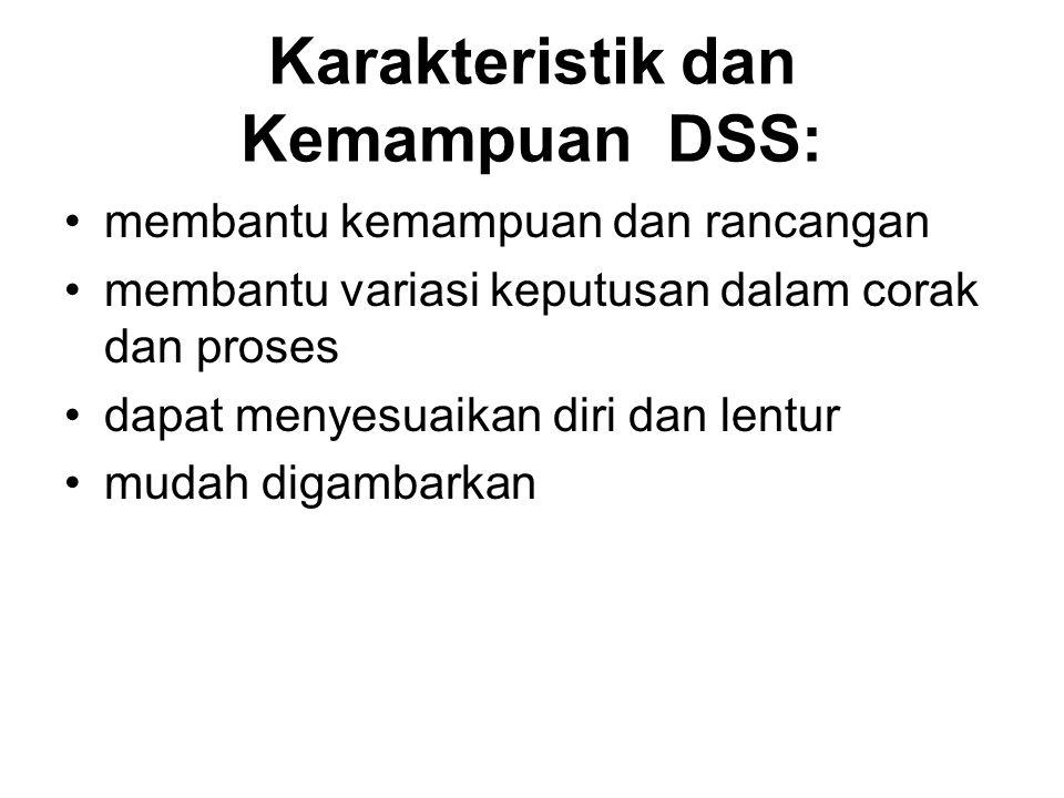 Karakteristik dan Kemampuan DSS: membantu kemampuan dan rancangan membantu variasi keputusan dalam corak dan proses dapat menyesuaikan diri dan lentur