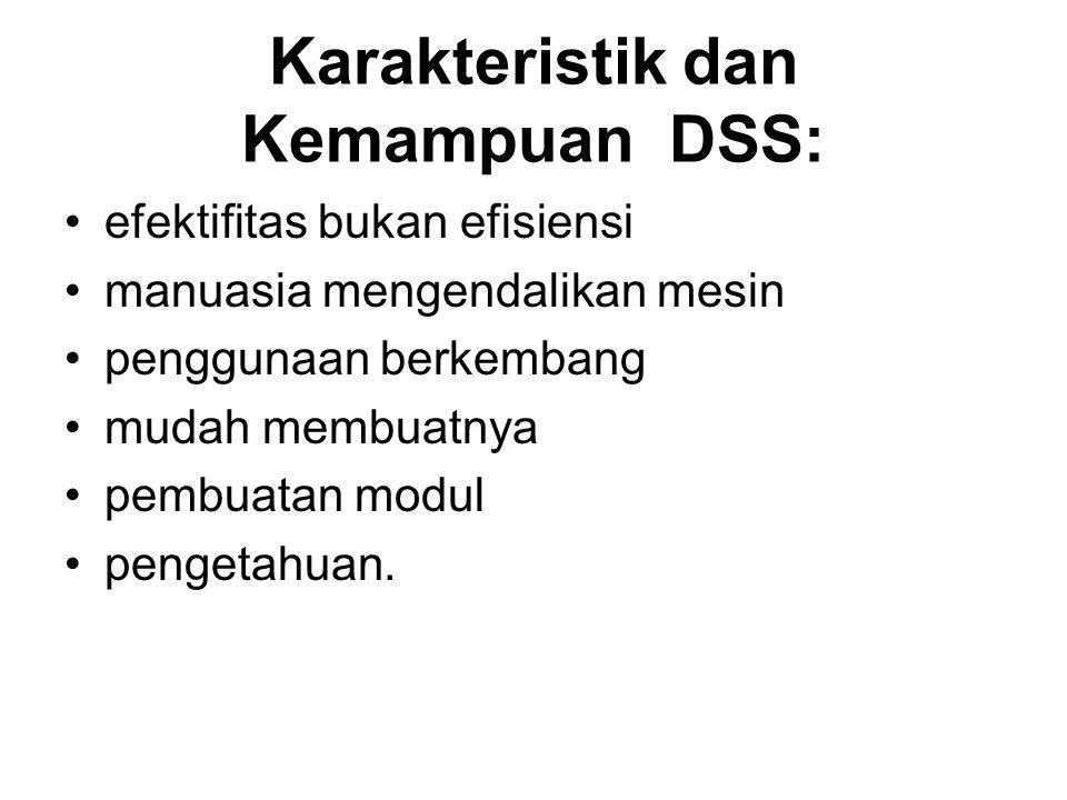 Karakteristik dan Kemampuan DSS: efektifitas bukan efisiensi manuasia mengendalikan mesin penggunaan berkembang mudah membuatnya pembuatan modul penge