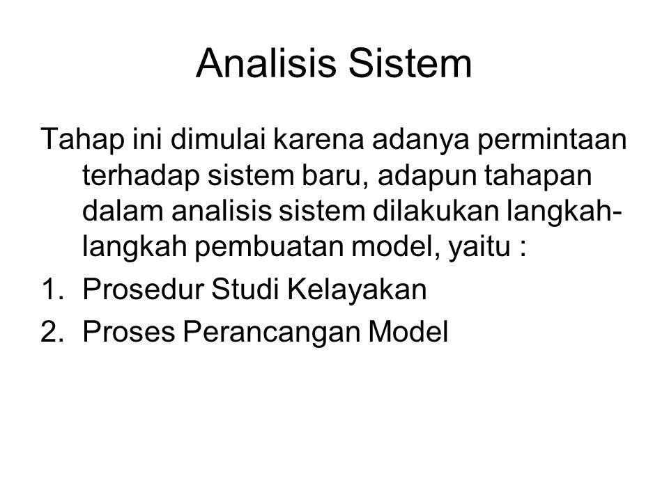 Analisis Sistem Tahap ini dimulai karena adanya permintaan terhadap sistem baru, adapun tahapan dalam analisis sistem dilakukan langkah- langkah pembu