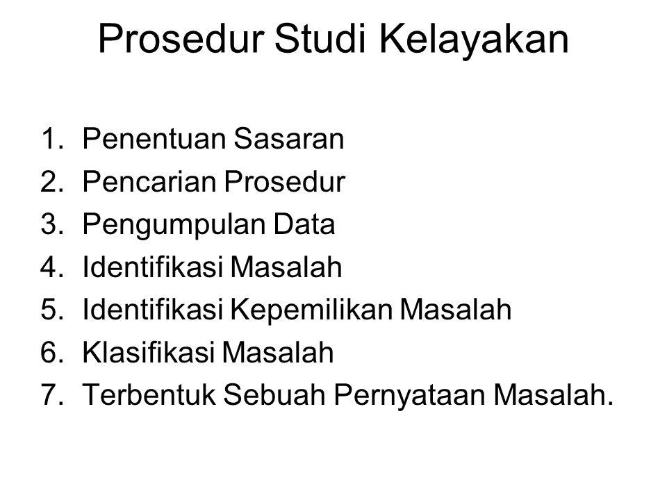 Prosedur Studi Kelayakan 1.Penentuan Sasaran 2.Pencarian Prosedur 3.Pengumpulan Data 4.Identifikasi Masalah 5.Identifikasi Kepemilikan Masalah 6.Klasi