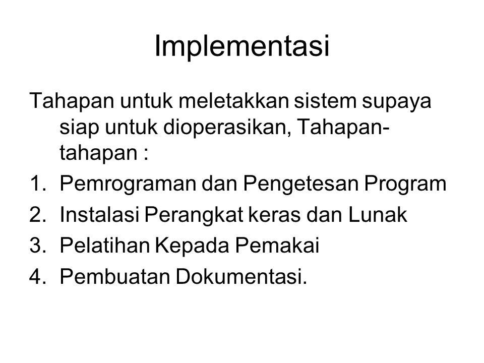 Implementasi Tahapan untuk meletakkan sistem supaya siap untuk dioperasikan, Tahapan- tahapan : 1.Pemrograman dan Pengetesan Program 2.Instalasi Peran