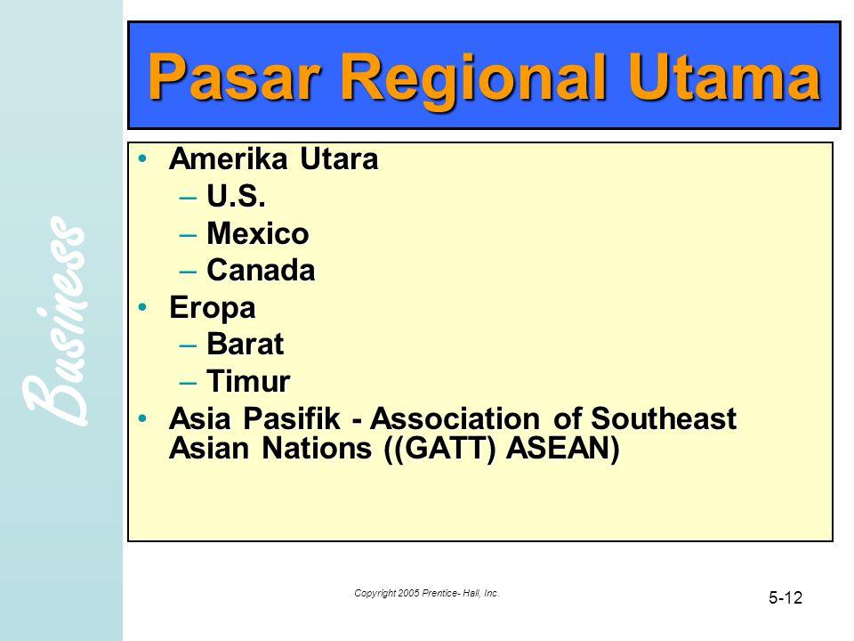 Business Copyright 2005 Prentice- Hall, Inc. 5-12 Pasar Regional Utama Amerika UtaraAmerika Utara –U.S. –Mexico –Canada EropaEropa –Barat –Timur Asia