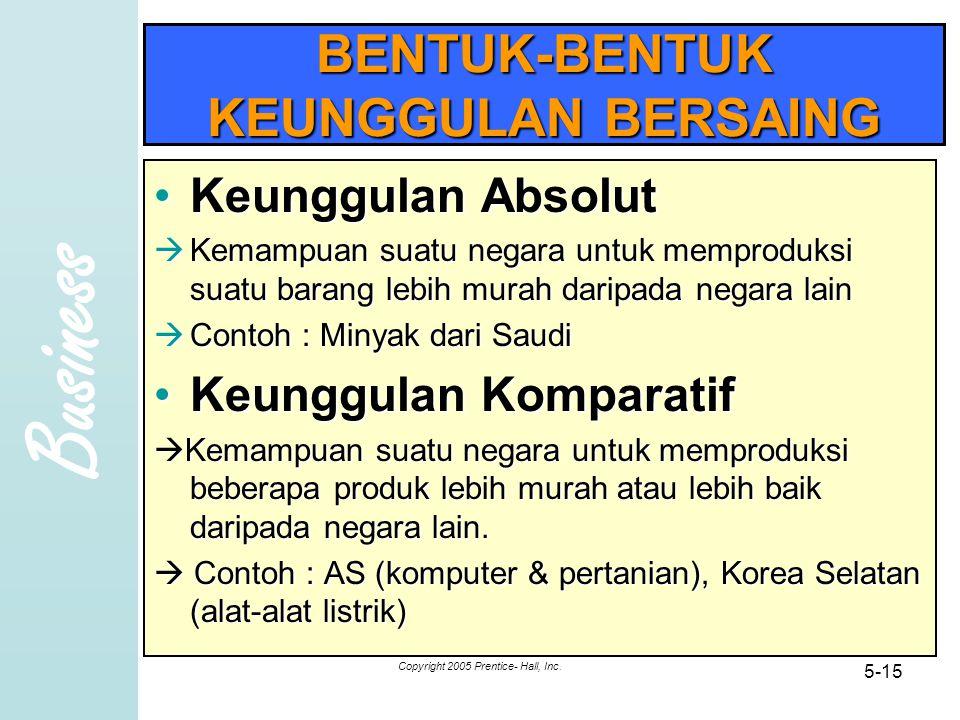 Business Copyright 2005 Prentice- Hall, Inc. 5-15 BENTUK-BENTUK KEUNGGULAN BERSAING Keunggulan AbsolutKeunggulan Absolut  Kemampuan suatu negara untu