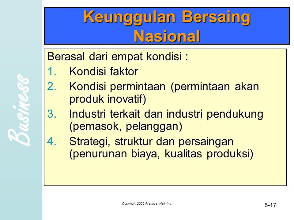 Business Copyright 2005 Prentice- Hall, Inc. 5-17 Keunggulan Bersaing Nasional Berasal dari empat kondisi : 1.Kondisi faktor 2.Kondisi permintaan (per