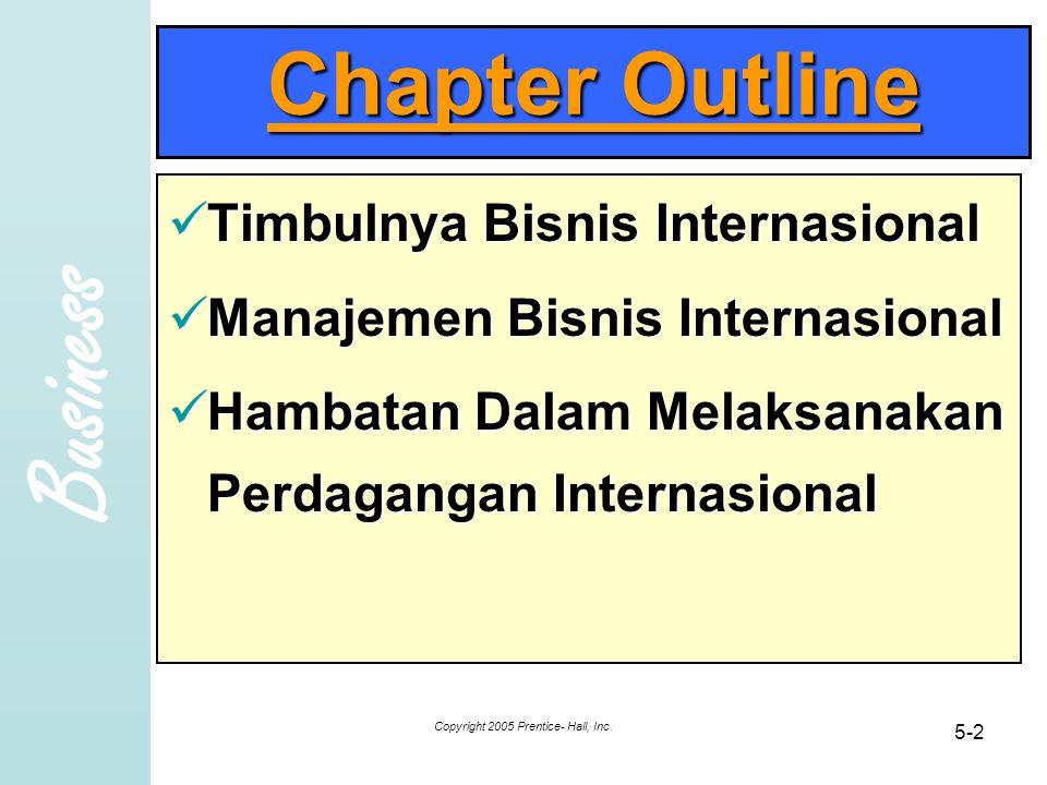 Business Copyright 2005 Prentice- Hall, Inc. 5-2 Chapter Outline Timbulnya Bisnis Internasional Timbulnya Bisnis Internasional Manajemen Bisnis Intern