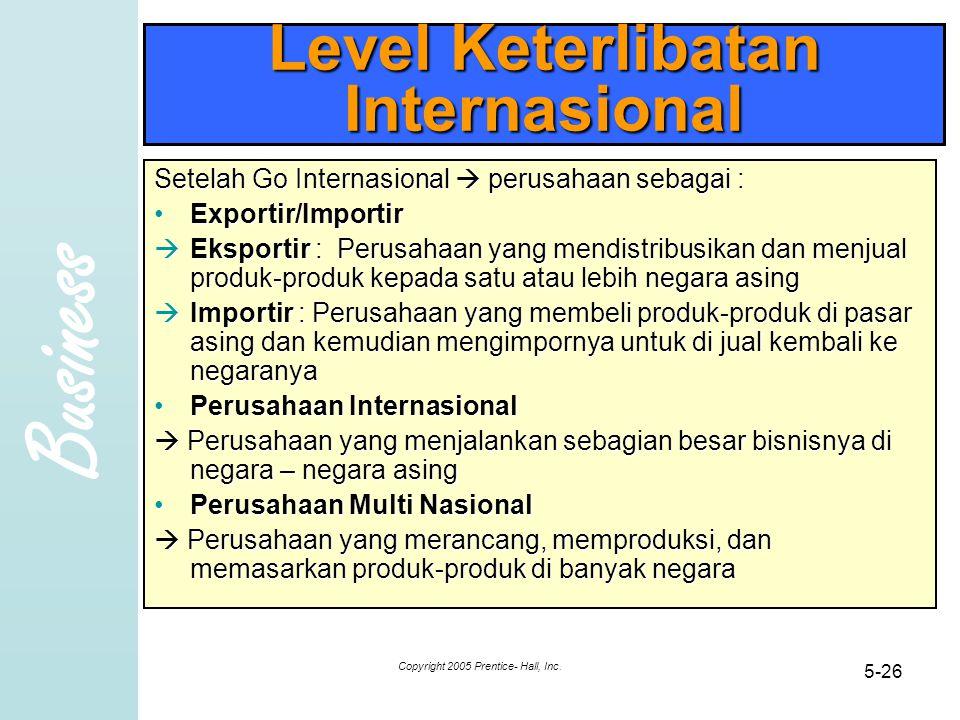 Business Copyright 2005 Prentice- Hall, Inc. 5-26 Level Keterlibatan Internasional Setelah Go Internasional  perusahaan sebagai : Exportir/ImportirEx