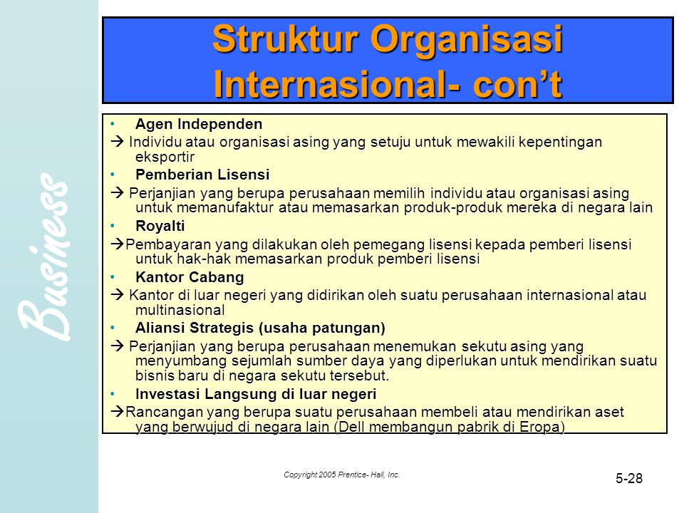 Business Copyright 2005 Prentice- Hall, Inc. 5-28 Struktur Organisasi Internasional- con't Agen IndependenAgen Independen  Individu atau organisasi a