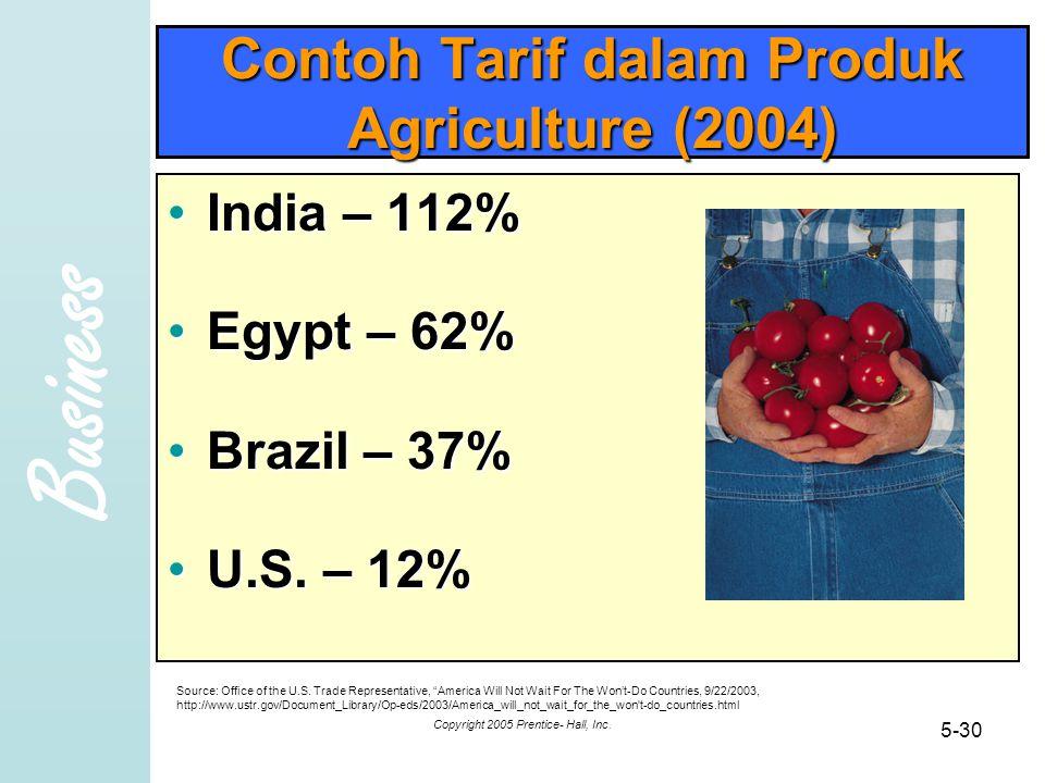 Business Copyright 2005 Prentice- Hall, Inc. 5-30 Contoh Tarif dalam Produk Agriculture (2004) India – 112%India – 112% Egypt – 62%Egypt – 62% Brazil