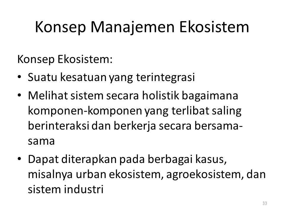 Konsep Manajemen Ekosistem Konsep Ekosistem: Suatu kesatuan yang terintegrasi Melihat sistem secara holistik bagaimana komponen-komponen yang terlibat