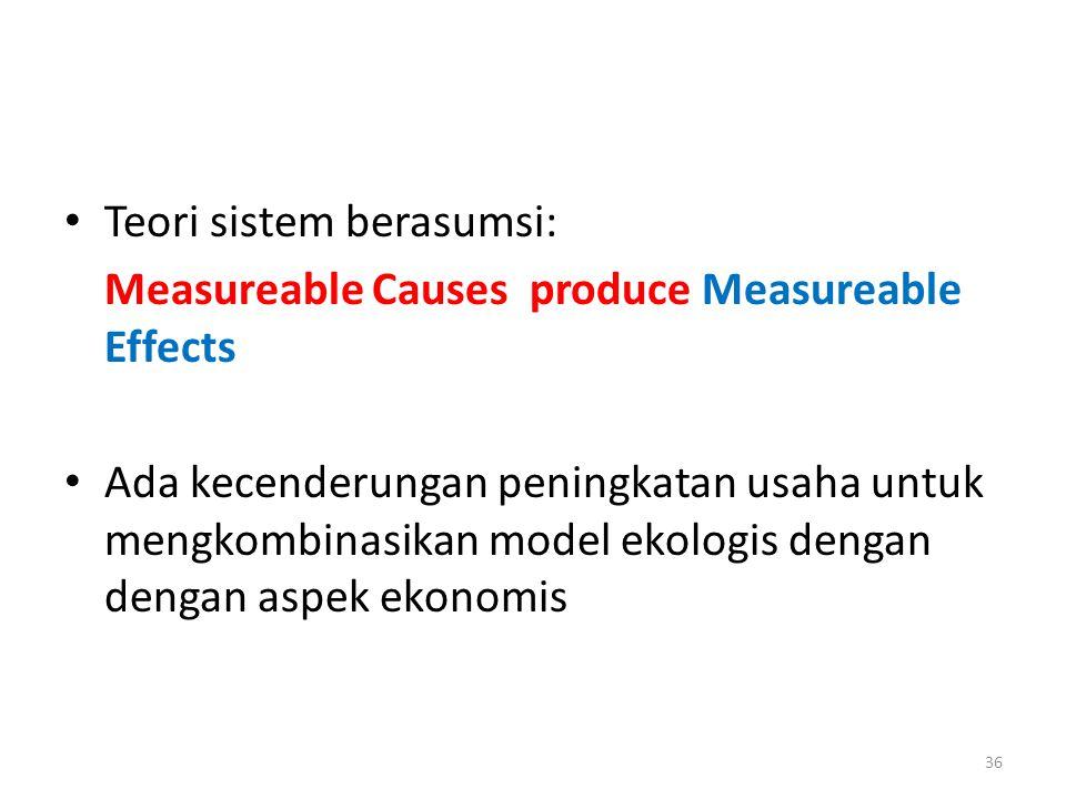 Teori sistem berasumsi: Measureable Causes produce Measureable Effects Ada kecenderungan peningkatan usaha untuk mengkombinasikan model ekologis denga