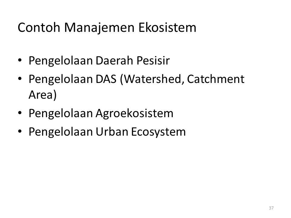 Contoh Manajemen Ekosistem Pengelolaan Daerah Pesisir Pengelolaan DAS (Watershed, Catchment Area) Pengelolaan Agroekosistem Pengelolaan Urban Ecosyste
