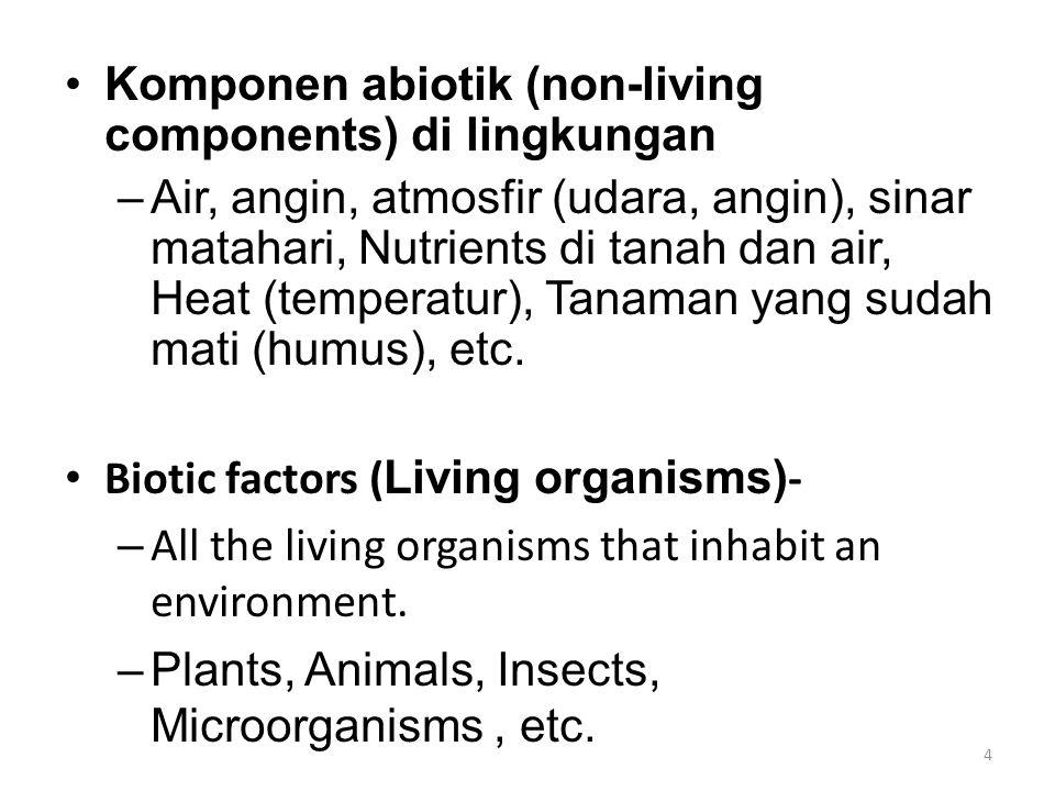 Komponen abiotik (non-living components) di lingkungan –Air, angin, atmosfir (udara, angin), sinar matahari, Nutrients di tanah dan air, Heat (tempera
