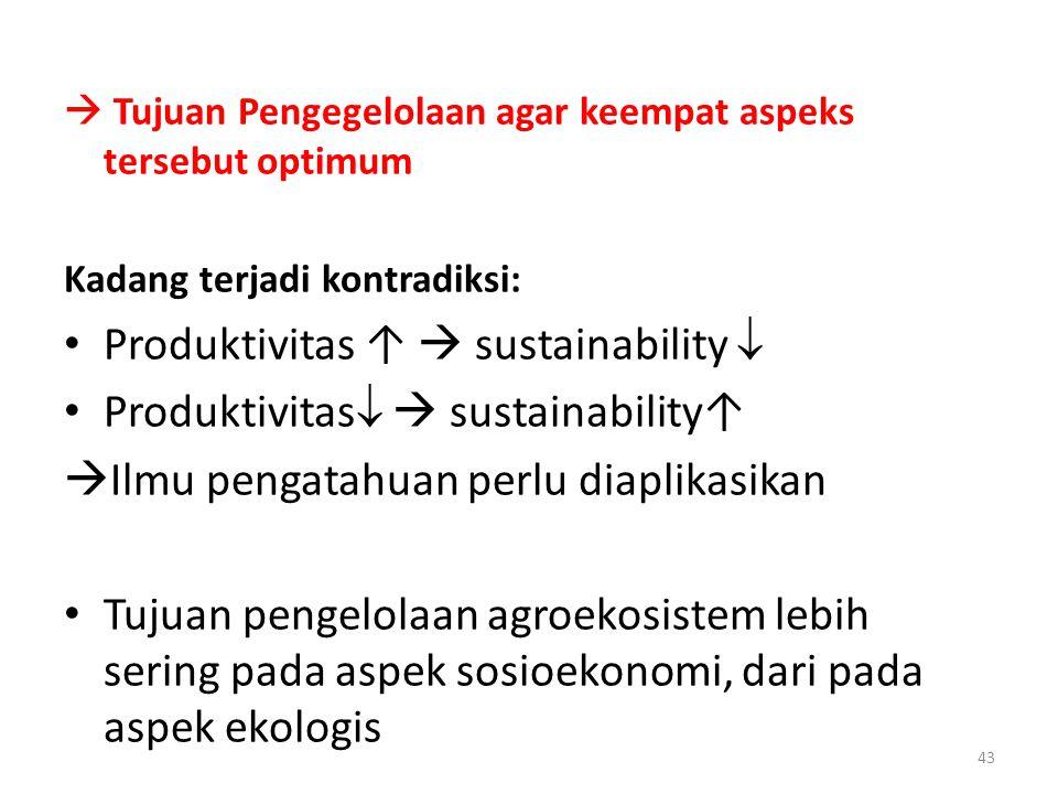  Tujuan Pengegelolaan agar keempat aspeks tersebut optimum Kadang terjadi kontradiksi: Produktivitas ↑  sustainability  Produktivitas   sustainab