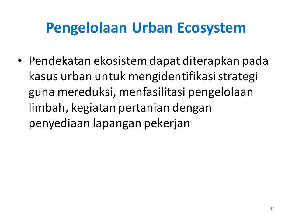 Pengelolaan Urban Ecosystem Pendekatan ekosistem dapat diterapkan pada kasus urban untuk mengidentifikasi strategi guna mereduksi, menfasilitasi penge