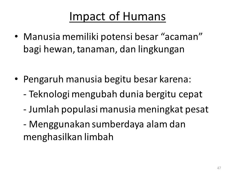"""Impact of Humans Manusia memiliki potensi besar """"acaman"""" bagi hewan, tanaman, dan lingkungan Pengaruh manusia begitu besar karena: - Teknologi menguba"""