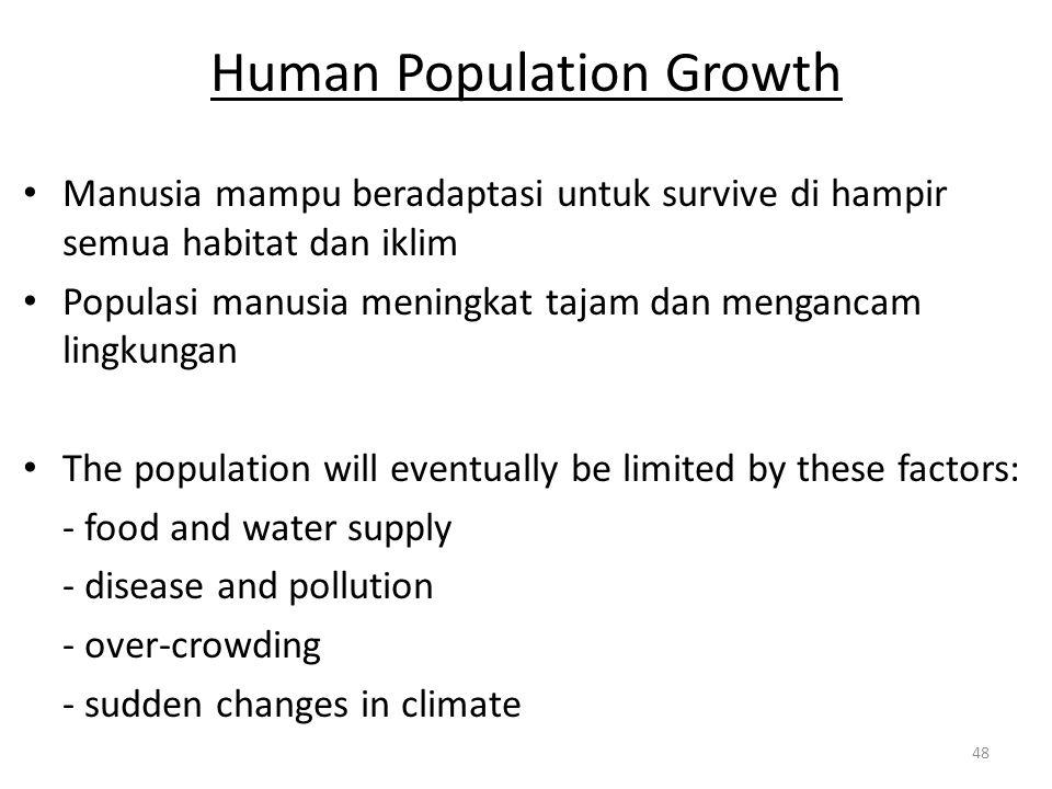 Human Population Growth Manusia mampu beradaptasi untuk survive di hampir semua habitat dan iklim Populasi manusia meningkat tajam dan mengancam lingk