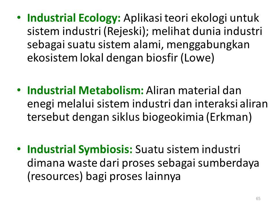 Industrial Ecology: Aplikasi teori ekologi untuk sistem industri (Rejeski); melihat dunia industri sebagai suatu sistem alami, menggabungkan ekosistem