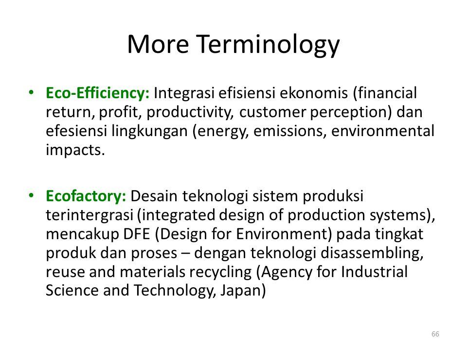 More Terminology Eco-Efficiency: Integrasi efisiensi ekonomis (financial return, profit, productivity, customer perception) dan efesiensi lingkungan (