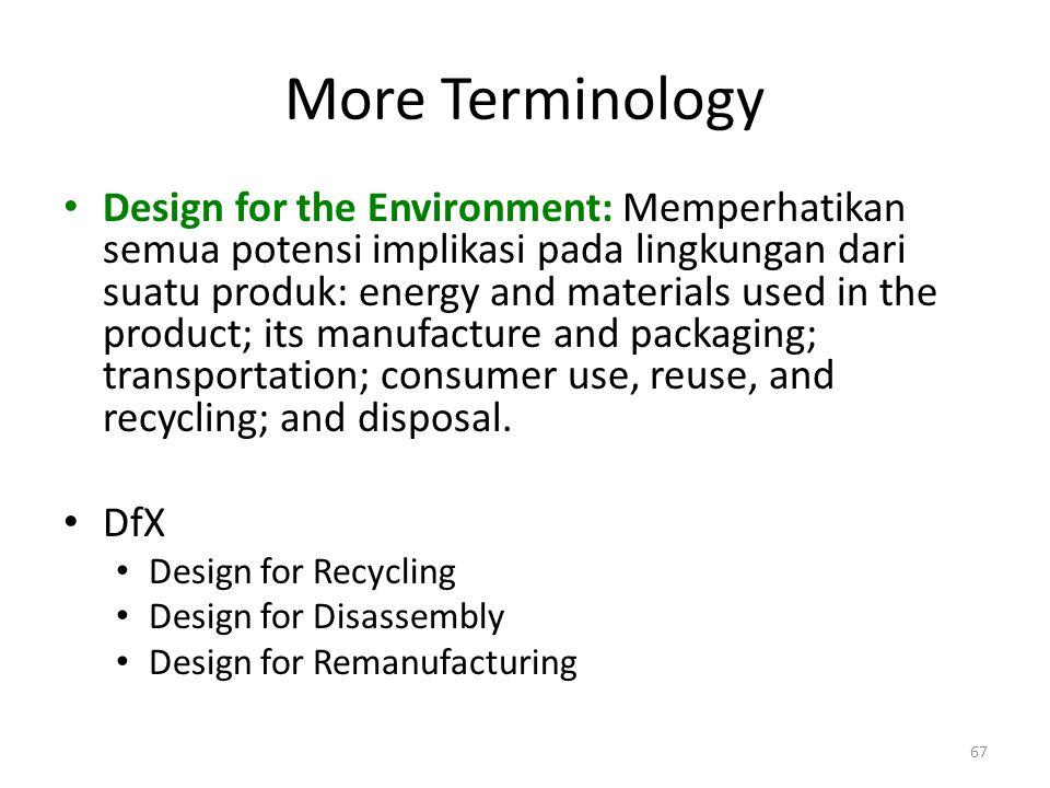 More Terminology Design for the Environment: Memperhatikan semua potensi implikasi pada lingkungan dari suatu produk: energy and materials used in the
