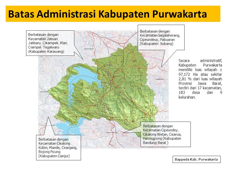 PROGRAM DAN KEGIATAN PRIORITAS SEKTORAL BIDANG PEMERINTAHAN Bappeda : NoProgram/KegiatanSasaranVolume Lokasi (Kec, Desa/Kel) Biaya (Rp)Ket (1)(2)(3)(4)(5)(6)(7) 1Program Peningkatan Sarana dan Prasarana Aparatur : 1Pengadaan Kendaraan Operasional Monitoring dan Evaluasi Pembangunan di Kabupaten Purwakarta Tersedianya Kendaraan Operasional Dalam Rangka Menunjang Pelaksanaan Monitoring dan Evaluasi 1 UnitPurwakarta 400,000,000 Belanja Tidak Langsung 2Program Perencanaan, Pengendalian dan Pengawasan Pembangunan Daerah: 1Monitoring dan Evaluasi Kegiatan Tuban, Dekon, DAK dan RKPD Kabupaten Purwakarta Tahun 2016 Tersedianya Dokumen Hasil Pelaporan Kegiatan Tuban, Dekon, DAK dan RKPD Kabupaten Purwakarta Tahun 2016 4 KegiatanPurwakarta 150,000,000 Bidang Perencanaan Pembangunan 2Evaluasi Konsistensi Penerapan RPJMD, RKPD, KUA - PPAS dan APBD Kabupaten Purwakarta Tahun 2016 Terevaluasinya Konsistensi Penyusunan Dokumen Perencanaan di Kabupaten Purwakarta Tahun 2016 1 KegiatanPurwakarta 150,000,000 Bidang Perencanaan Pembangunan 3Sinergitas Perencanaan PembangunanTerlaksananya Sinergitas Perencanaan antara Pemerintah Kabupaten Purwakarta dengan Pemerintah Propvinsi Jawa Barat 1 KegiatanPurwakarta 100,000,000 Bidang Perencanaan Pembangunan